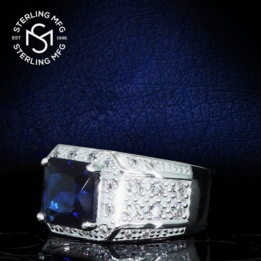 Sterling Silver .925 Blue C.Z Center Stone Ring