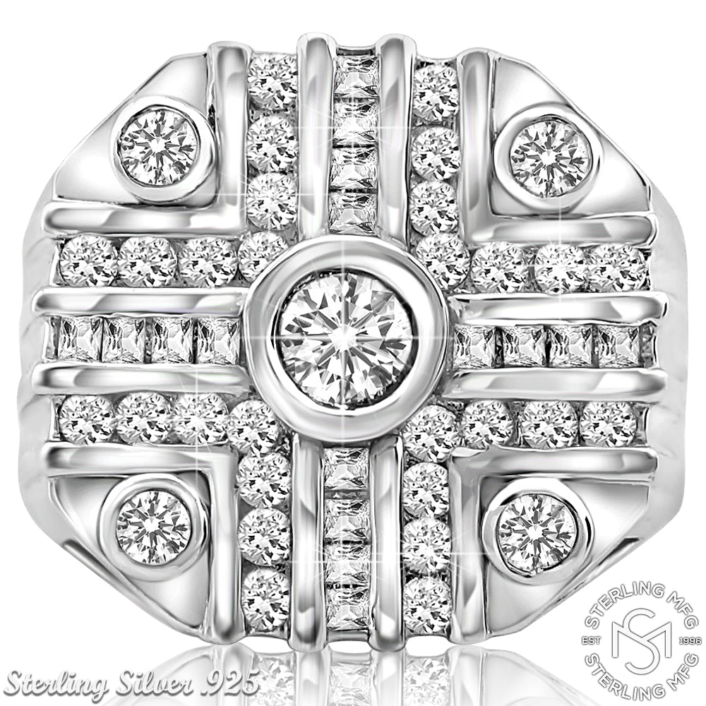 Sterling Silver .925 Octagonal C.Z Ring