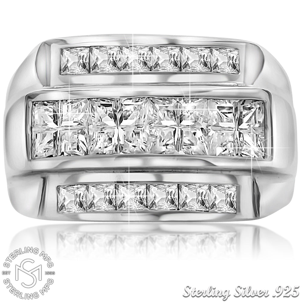 Sterling Silver .925 Triple Row C.Z Ring