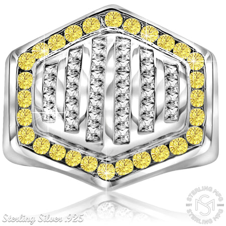Sterling Silver .925 Hexagonal Yellow & White C.Z Ring