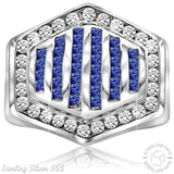 Sterling Silver .925 Hexagonal Blue & White C.Z Ring