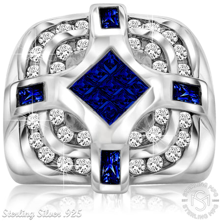 Sterling Silver .925 Dark Blue & White C.Z Ring