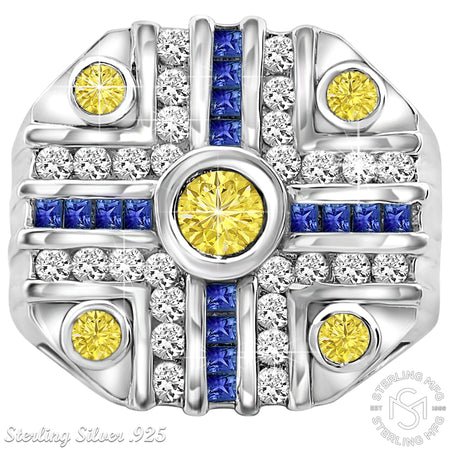 Sterling Silver .925 Octagonal Blue & Yellow C.Z Ring