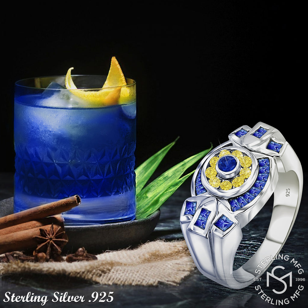Sterling Silver .925 Yellow and Blue C.Z Ring