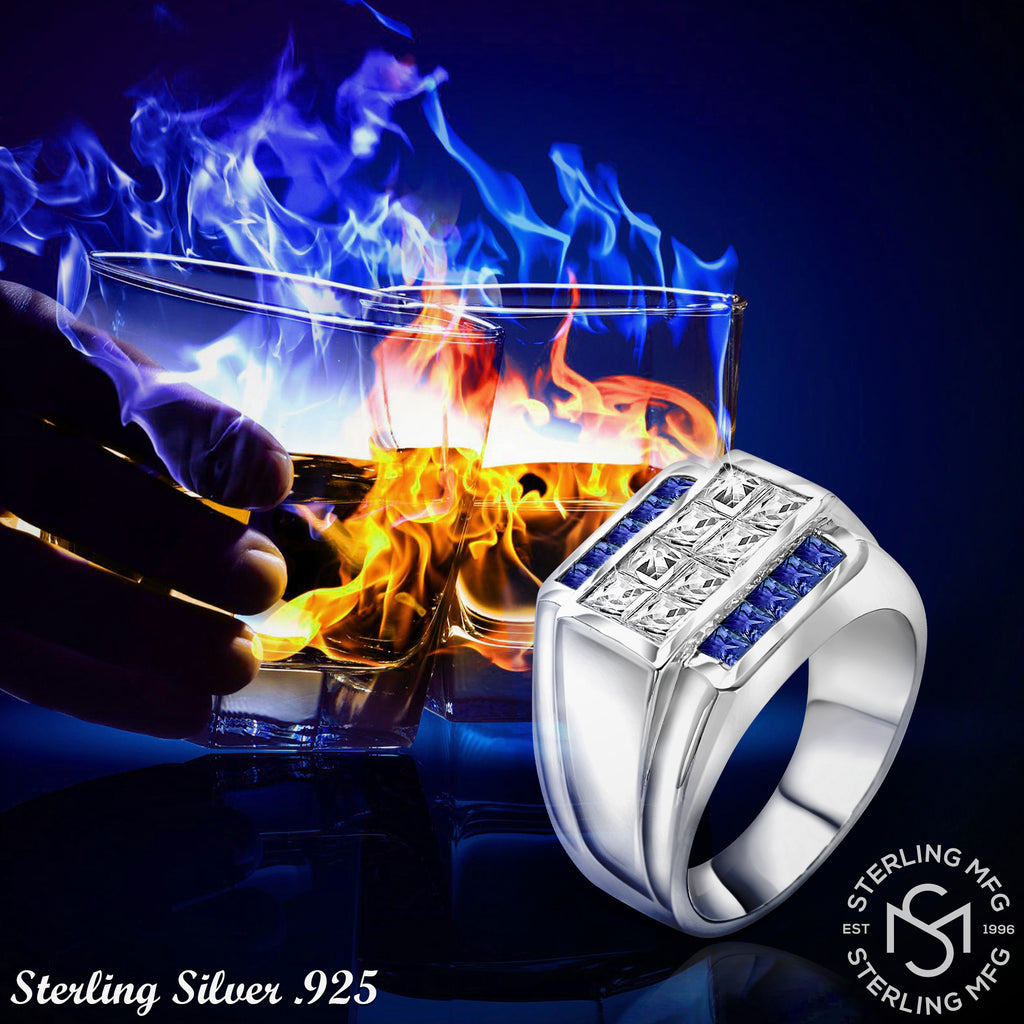 Sterling Silver .925 Blue & Clear C.Z Ring