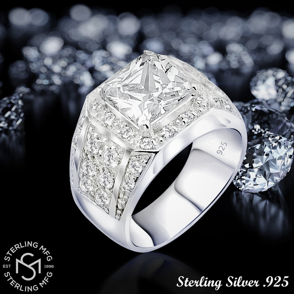 Sterling Silver .925 Clear C.Z Center Stone Ring