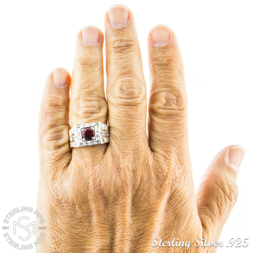 Sterling Silver .925 Red C.Z Center Stone Ring