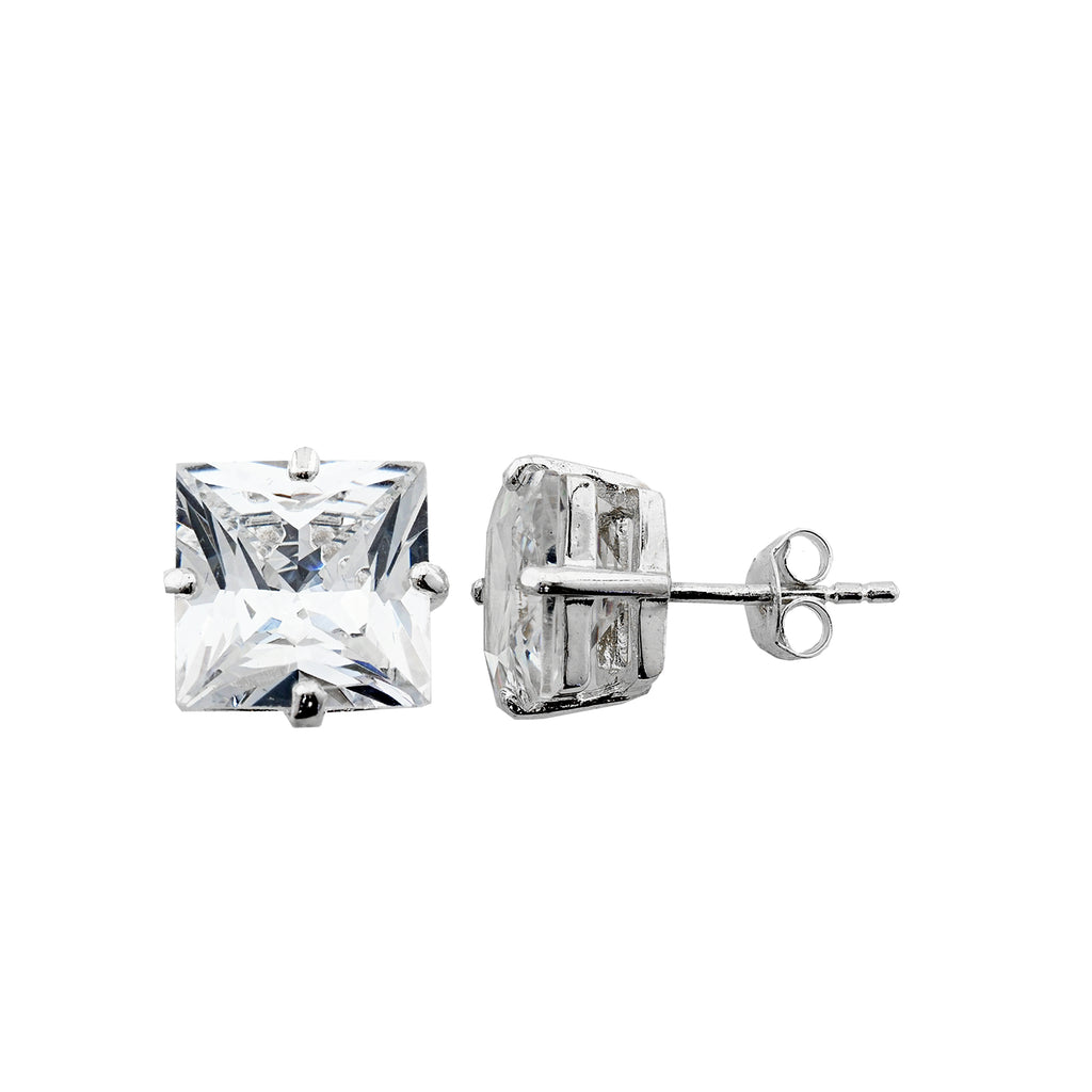 Sterling Silver .925 C.Z Square Studs 4mm
