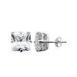 Sterling Silver .925 C.Z Square Studs 5mm