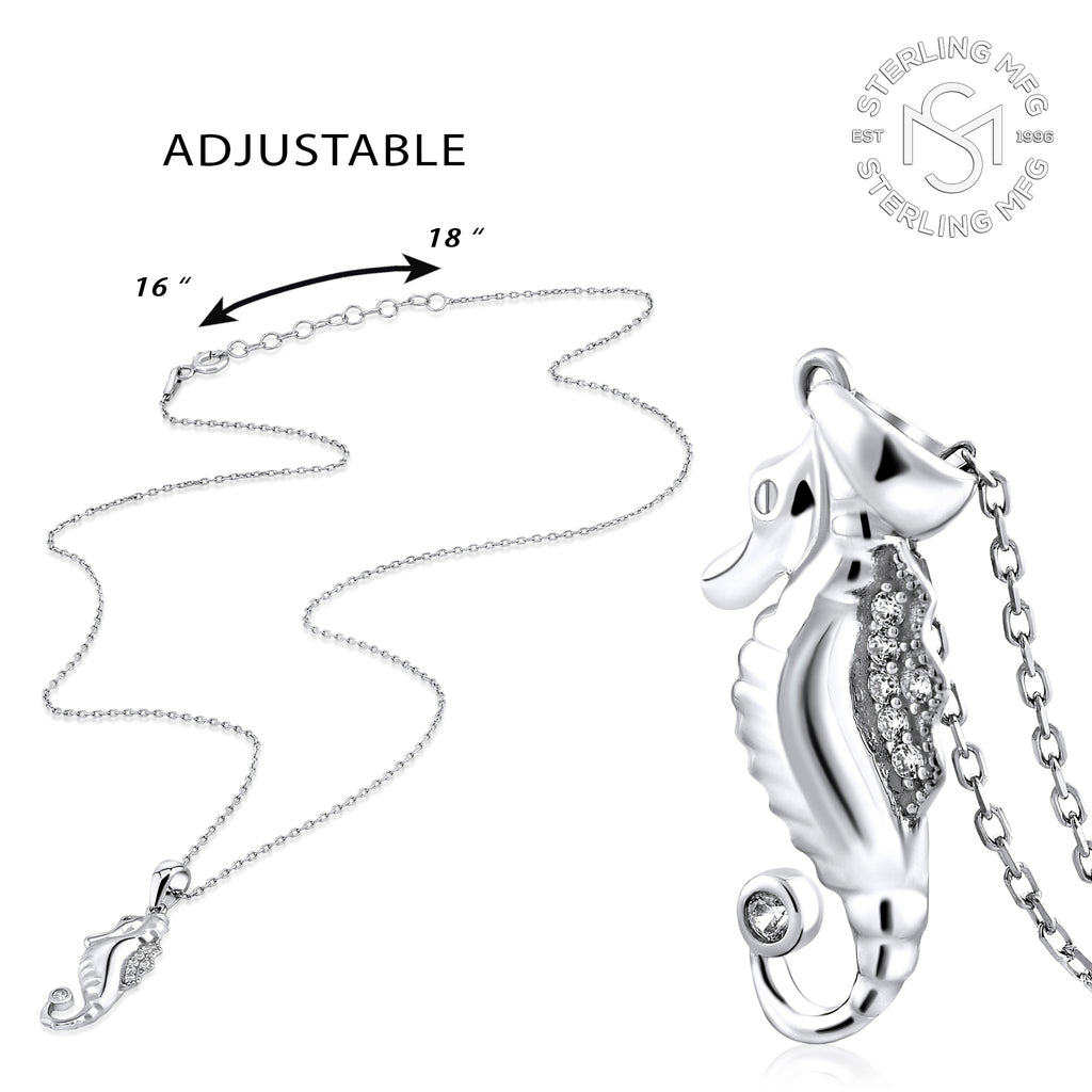 Sterling Silver .925 C.Z Seahorse Pendant with Chain