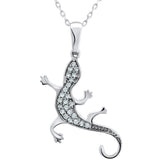 Sterling Silver .925 C.Z Gecko or Lizard Pendant with Chain