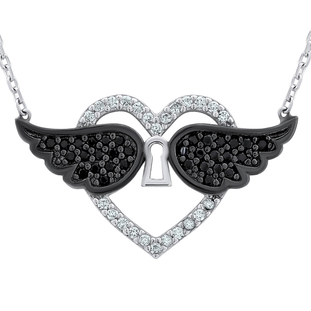 Sterling Silver .925 C.Z Heart Wings Lock Pendant with Chain