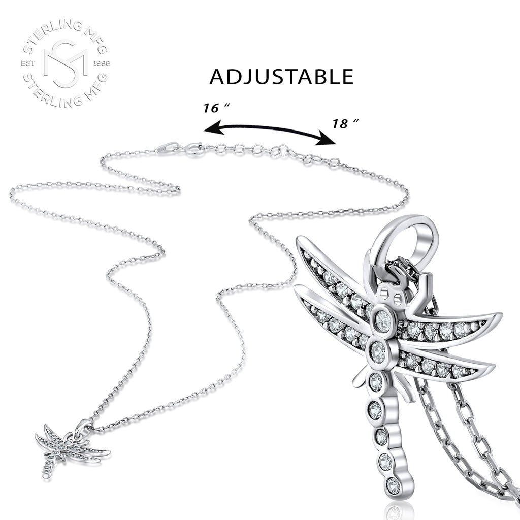 Sterling Silver .925 C.Z Dragonfly Pendant with Chain