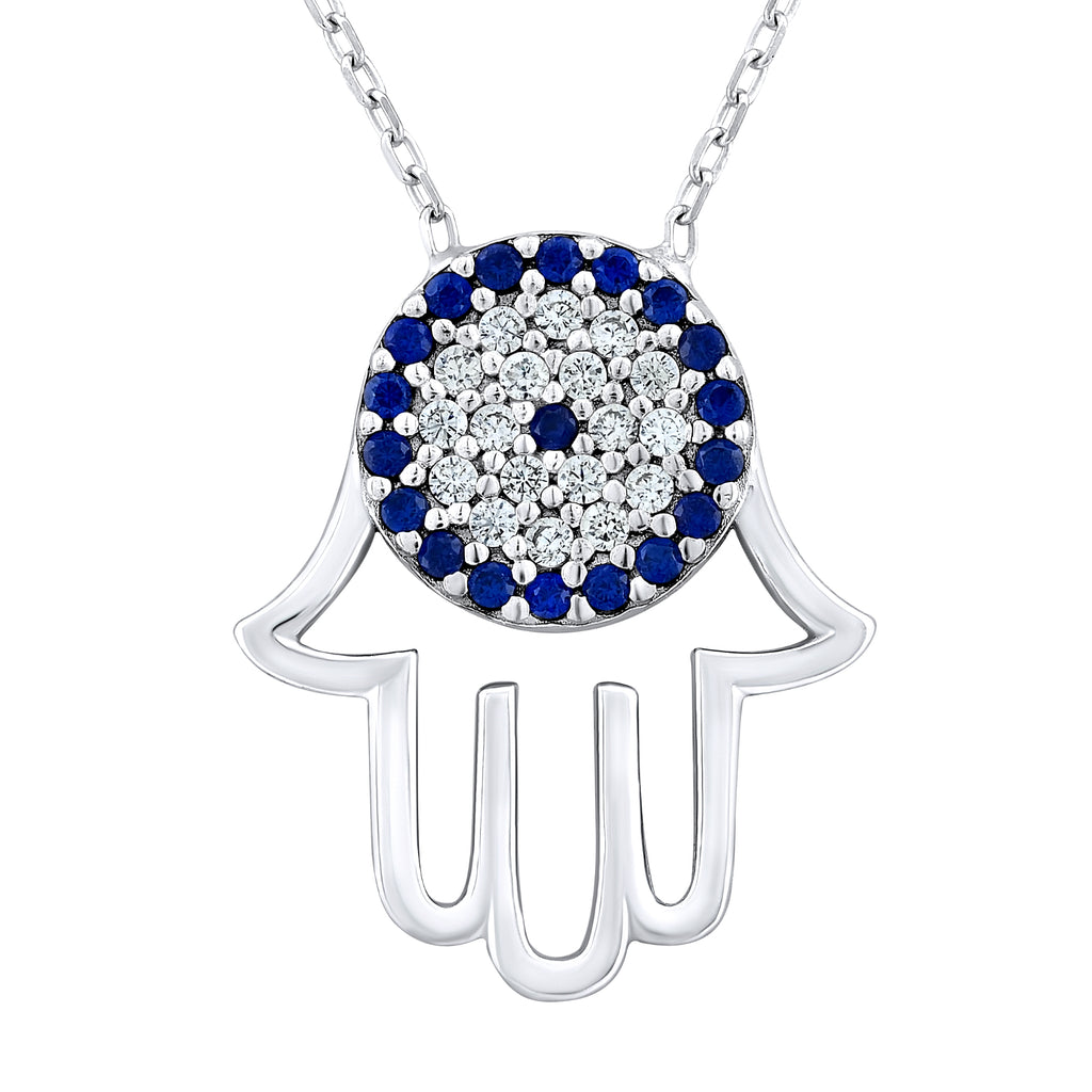 Sterling Silver .925 C.Z Evil Eye Hamsa Pendant with Chain