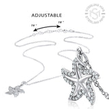 Sterling Silver .925 C.Z Starfish Pendant with Chain
