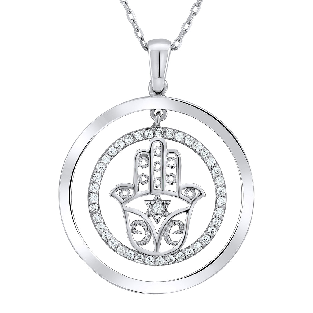 Sterling Silver .925 C.Z Hamsa Circle Pendant with Chain