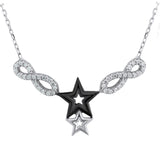 Sterling Silver .925 C.Z Infinity Stars Pendant with Chain