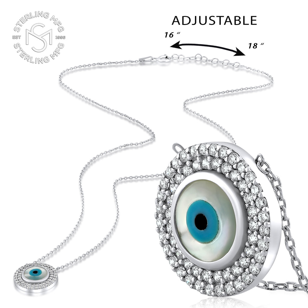 Sterling Silver .925 C.Z Evil Eye Pendant with Chain