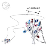 Sterling Silver .925 C.Z Evil Eye Tree Pendant with Chain