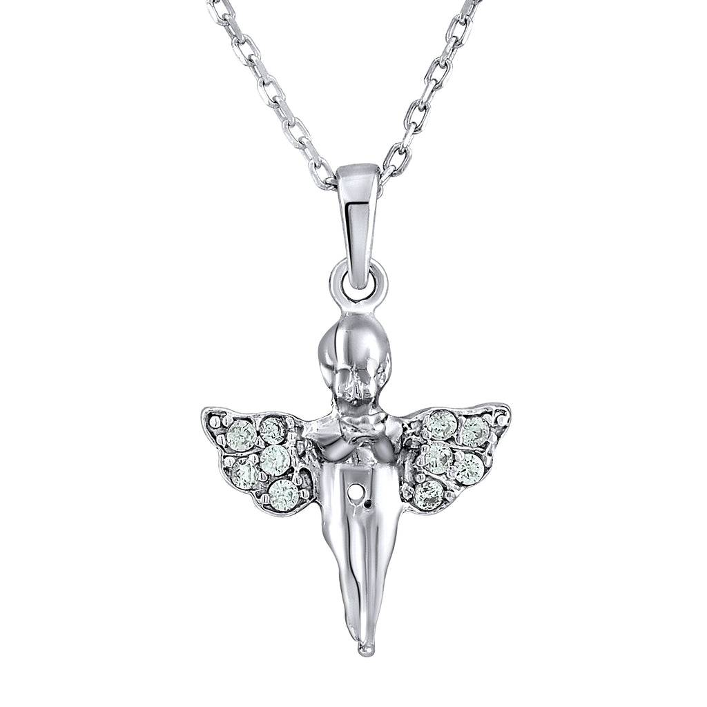 Sterling Silver .925 C.Z Cherub Pendant with Chain