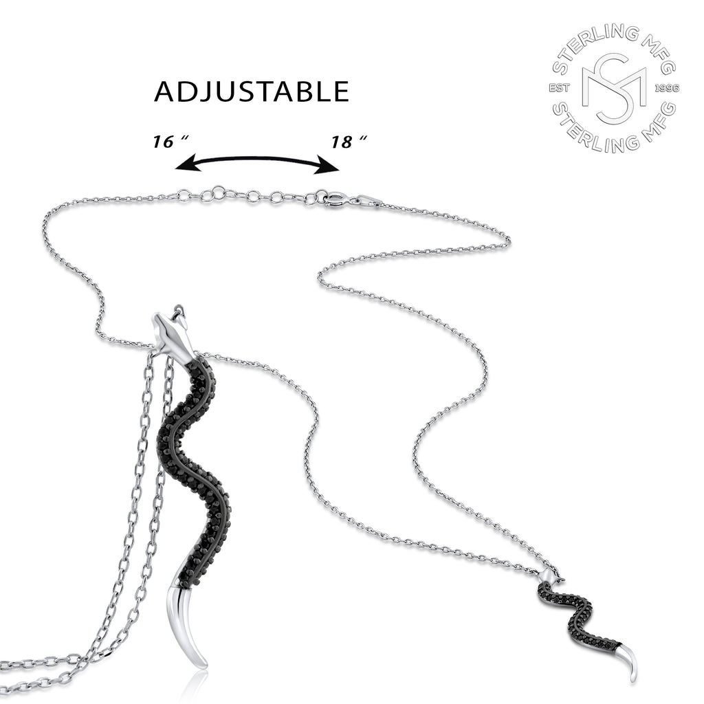 Sterling Silver .925 C.Z Snake Pendant with Chain