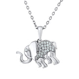 Sterling Silver .925 C.Z Elephant Pendant with Chain