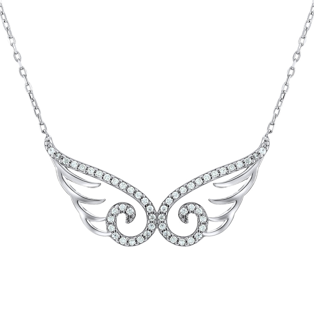 Sterling Silver .925 C.Z Wings Pendant with Chain