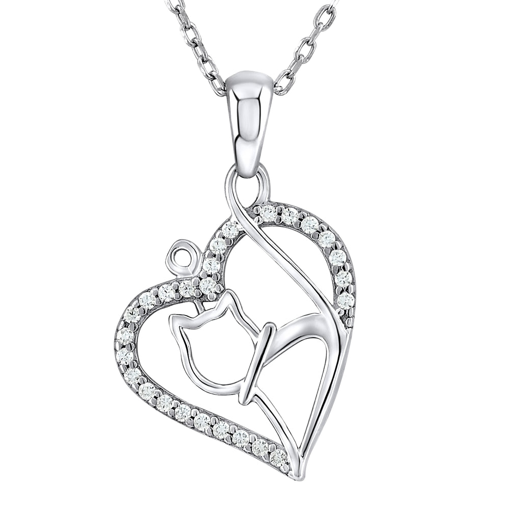 Sterling Silver .925 C.Z Cat in Heart Pendant with Chain