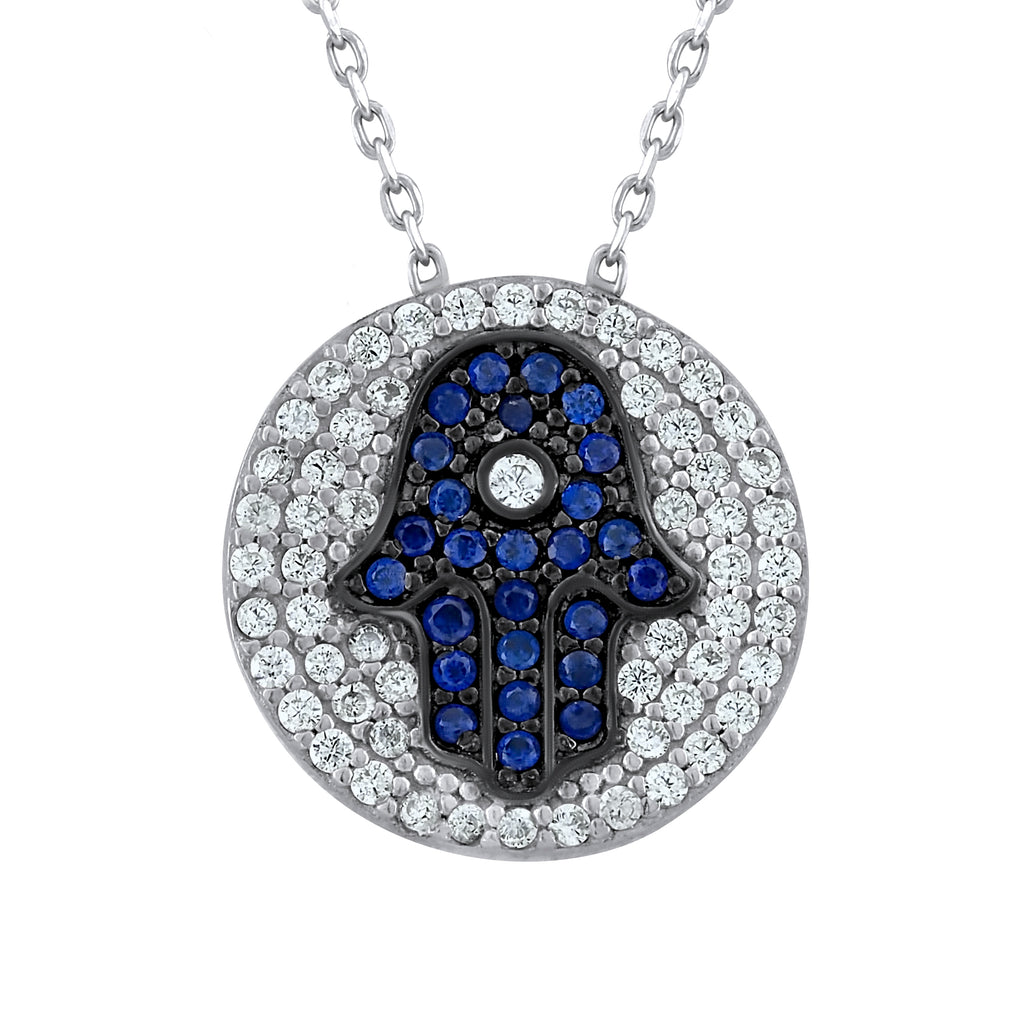 Sterling Silver .925 C.Z Hamsa Pendant with Chain