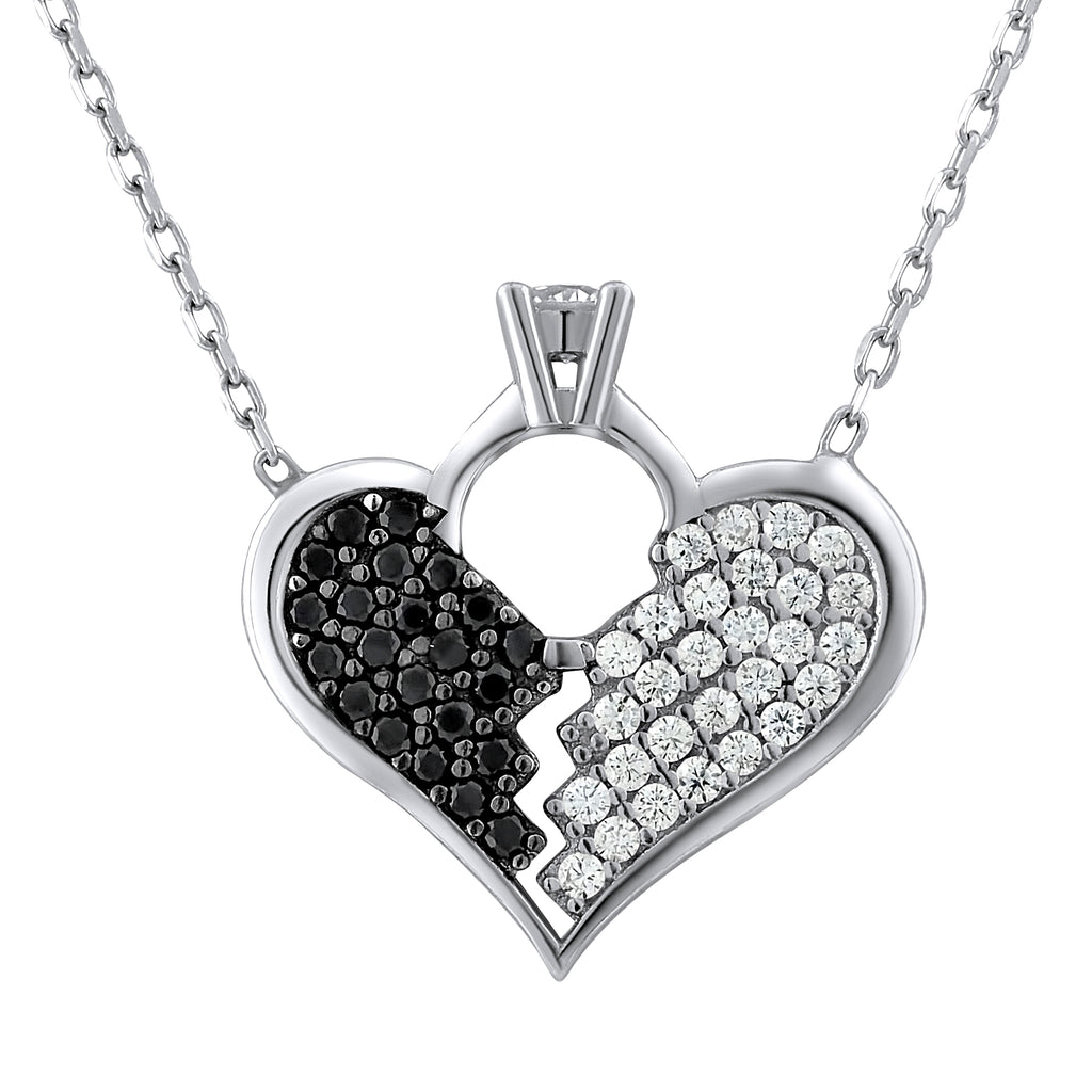 Sterling Silver .925 C.Z Heart-breaker Pendant with Chain