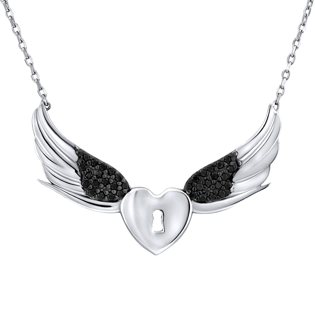 Sterling Silver .925 C.Z Heart Lock Wings Pendant with Chain