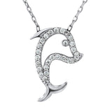 Sterling Silver .925 C.Z Dolphin Pendant with Chain