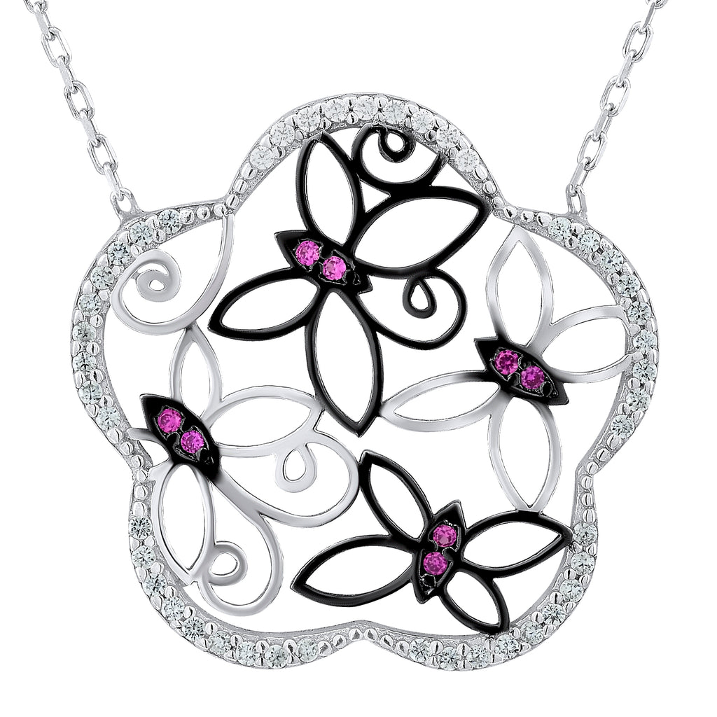 Sterling Silver .925 C.Z Butterflies Flower Pendant with Chain