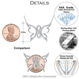 Sterling Silver .925 C.Z Infinity Butterfly Pendant with Chain