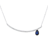 Sterling Silver .925 C.Z Teardrop Pendant with Chain