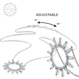 Sterling Silver .925 C.Z Sun Pendant with Chain