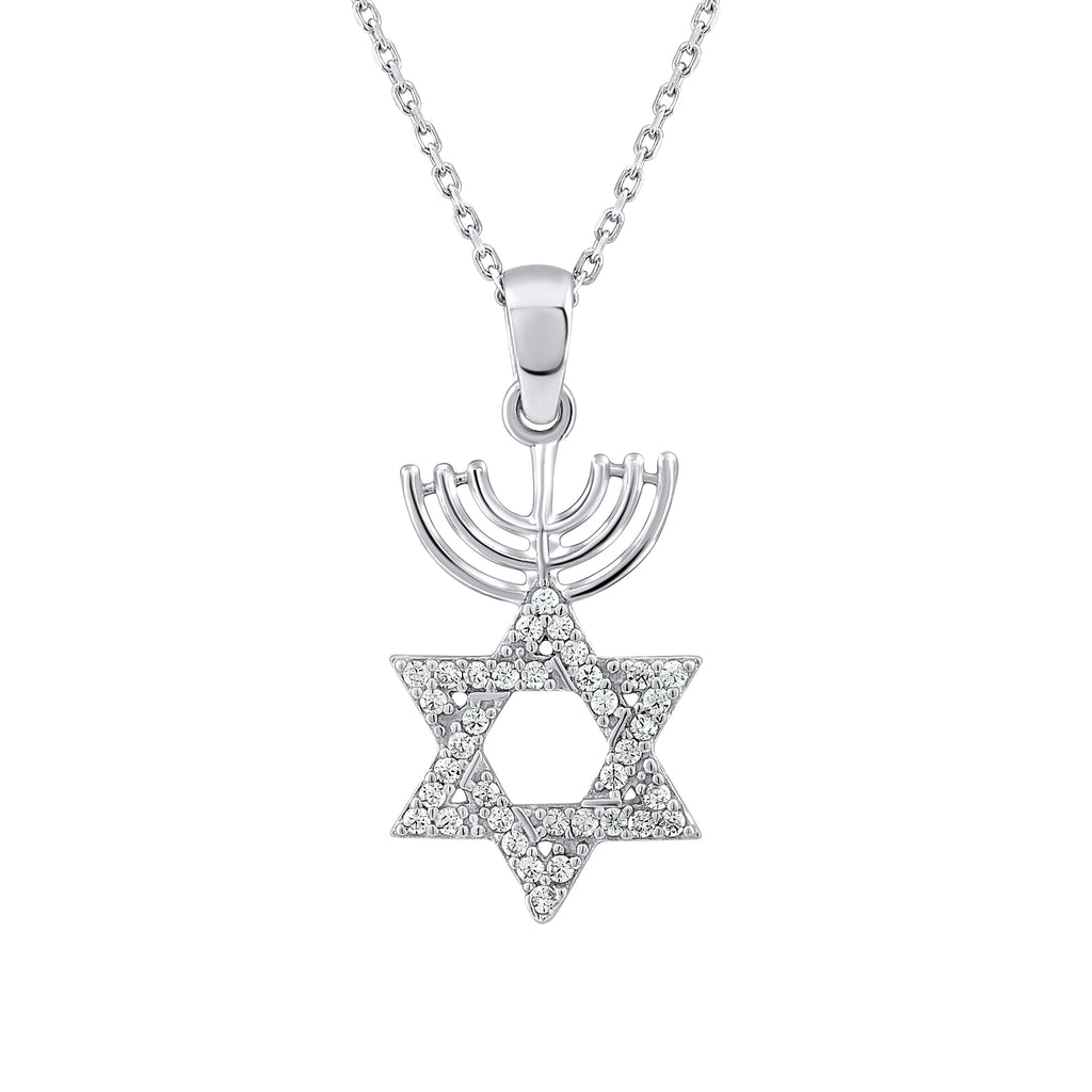 Sterling Silver .925 C.Z Star of David Menorah Pendant with Chain