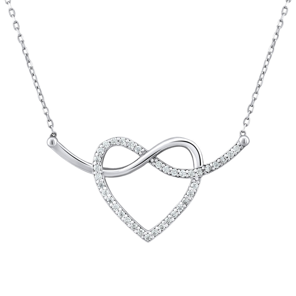 Sterling Silver .925 C.Z Infinity Heart Pendant with Chain