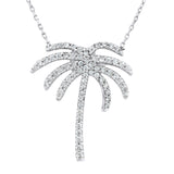 Sterling Silver .925 C.Z Palm Tree Pendant with Chain