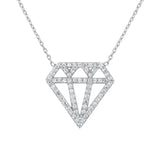Sterling Silver .925 C.Z Diamond-Shape Pendant with Chain