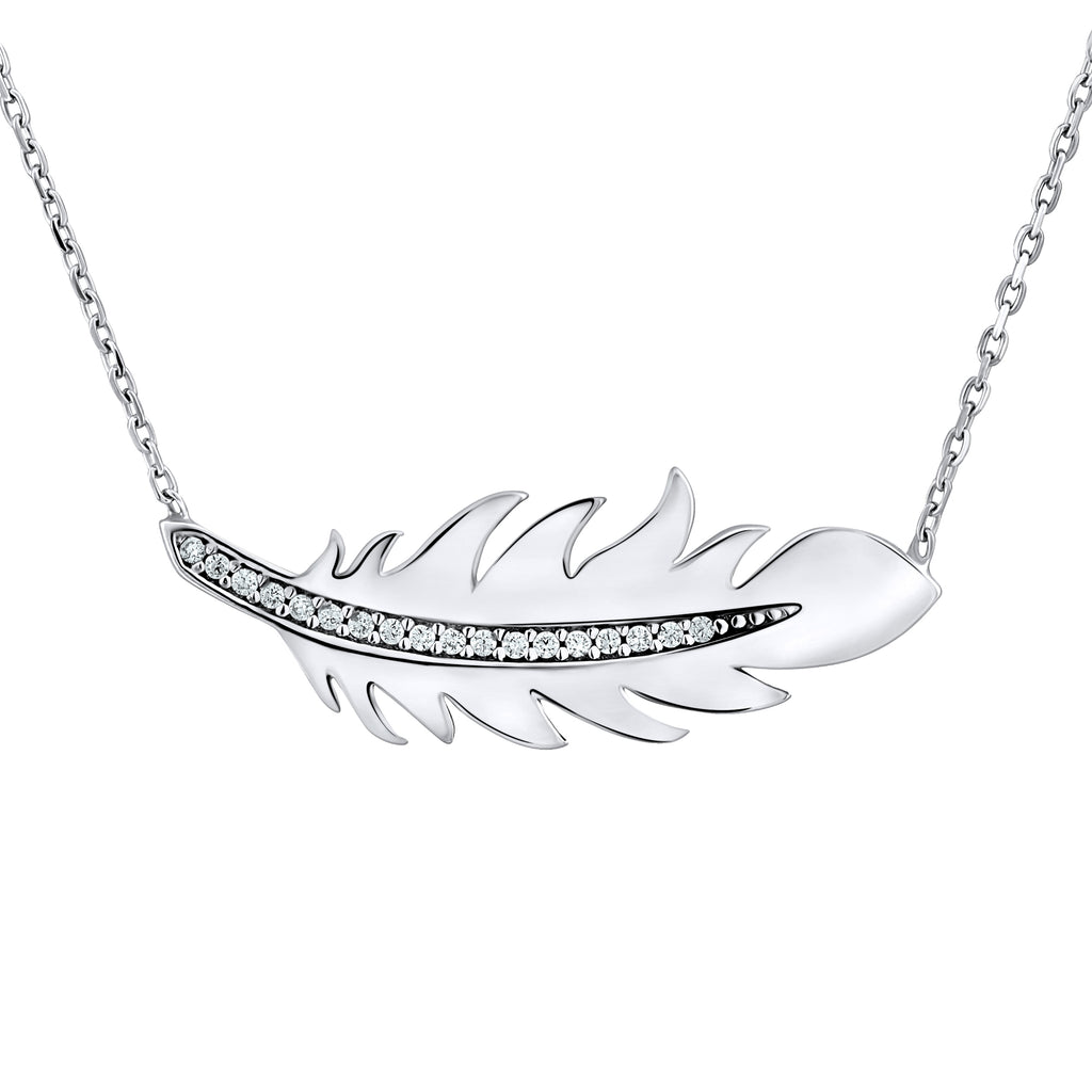 Sterling Silver .925 C.Z Feather Pendant with Chain