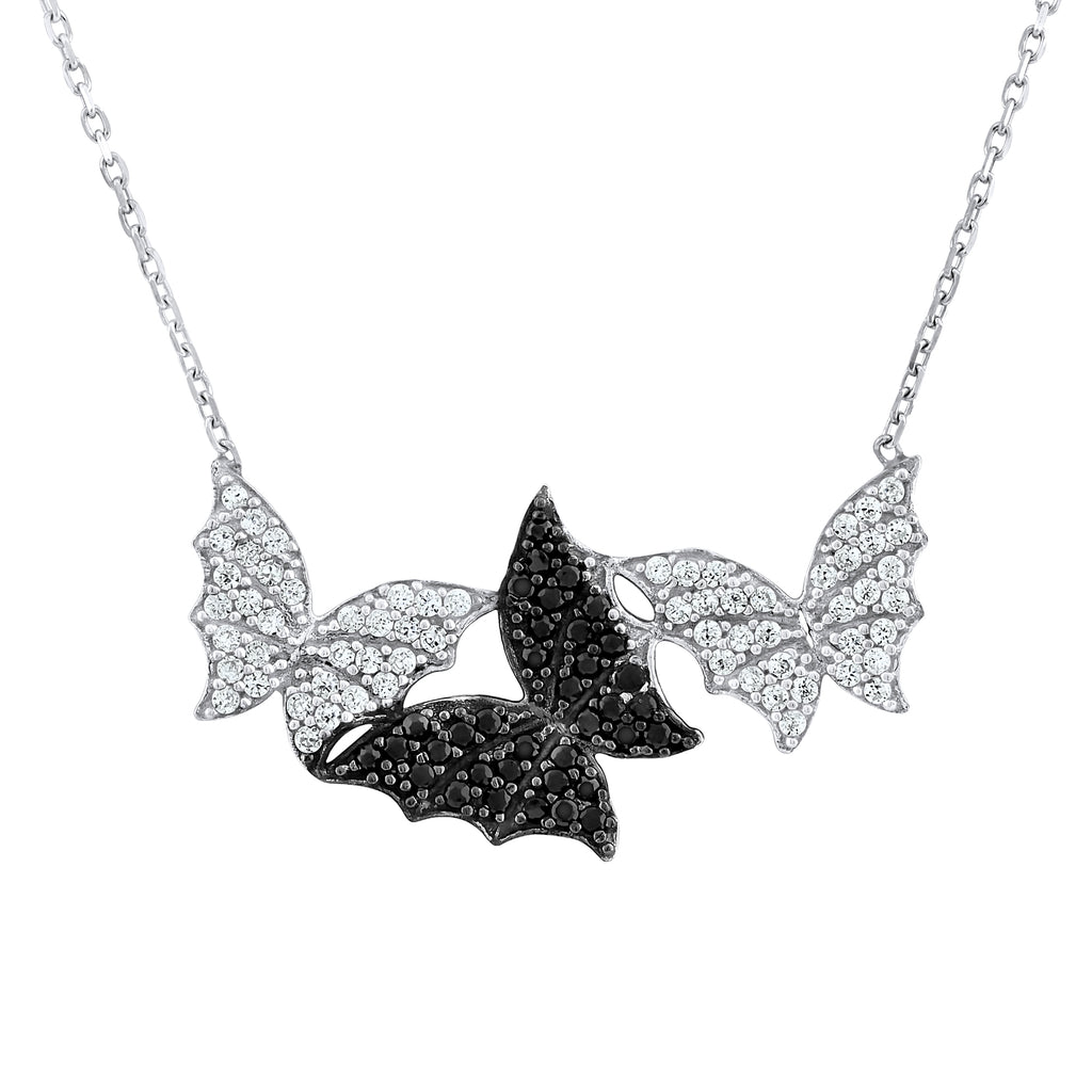 Sterling Silver .925 C.Z Butterflies Pendant with Chain