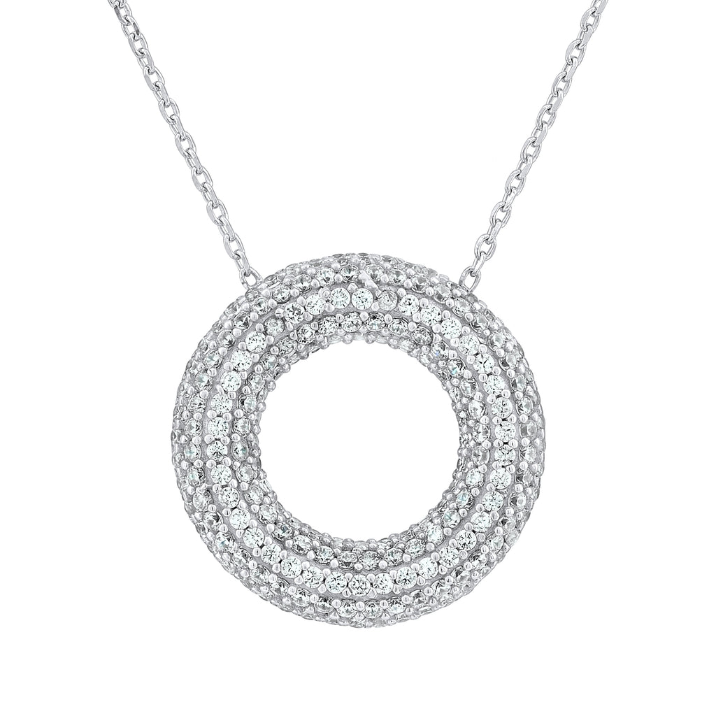 Sterling Silver .925 C.Z Circle Pendant with Chain