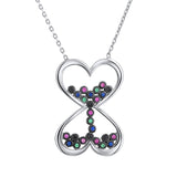 Sterling Silver .925 C.Z Hearts Hourglass Pendant with Chain