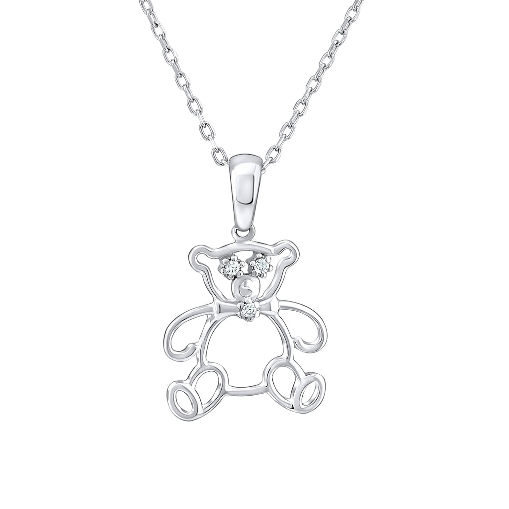 Sterling Silver .925 C.Z Teddy Bear Pendant with Chain
