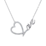 Sterling Silver .925 C.Z Heart Love Pendant with Chain