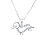 Sterling Silver .925 C.Z Dachshund Dog Pendant with Chain