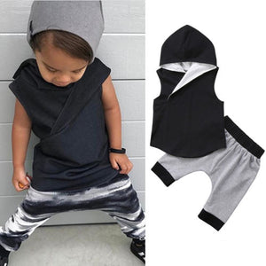 Cute Toddler Boys Sleeveless Hooded Outfit