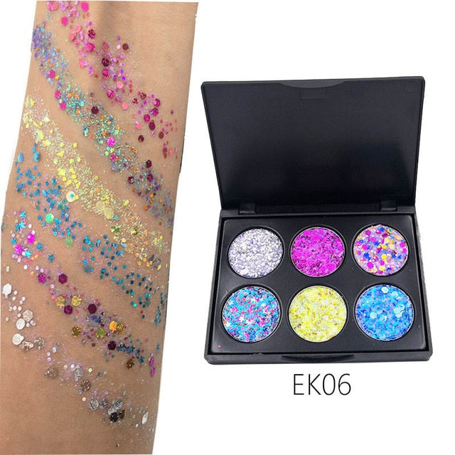 6 Color Glitter Eyeshadows