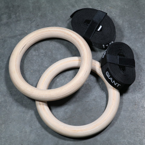 WOOD GYMNASTIC RINGS 1.25""